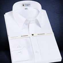Load image into Gallery viewer, Men's Long Sleeve Standard-fit Solid Basic Dress Shirt Patch Single Pocket High-quality Formal Social White Work Office Shirts