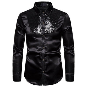 Men top Stage Dance Nightclub Prom Costume Men's Luxury Sequin Glitter Shirts Long Sleeve Silk Satin Shiny Disco Party Shirt