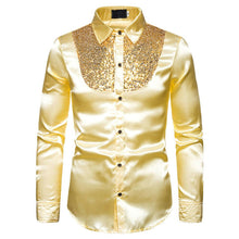 Load image into Gallery viewer, Men top Stage Dance Nightclub Prom Costume Men's Luxury Sequin Glitter Shirts Long Sleeve Silk Satin Shiny Disco Party Shirt