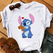 Load image into Gallery viewer, Women's Fashion T-Shirt Lilo Stitch Harajuku Kawaii Tshirts Lovely Cartoon Female Printed Casual T Shirt Cute Casual Tops