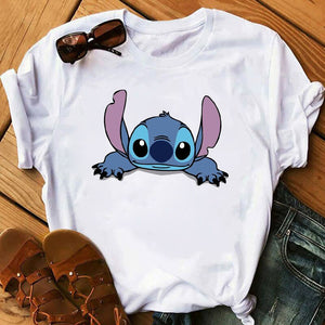 Women's Fashion T-Shirt Lilo Stitch Harajuku Kawaii Tshirts Lovely Cartoon Female Printed Casual T Shirt Cute Casual Tops