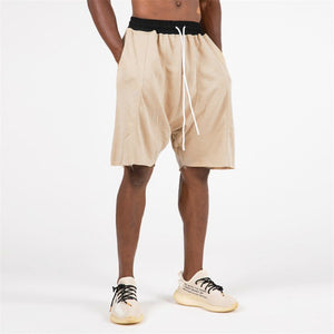 Mens Knee-length Cotton Shorts with Elastic Drawstring Waist Men's Sweatshort with Side Pockets Summer Hip hop men Shorts Pants