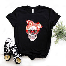 Load image into Gallery viewer, Bandana cráneo estampado Mujer camiseta algodón Casual divertida camiseta regalo 90s Lady Yong Girl Drop Ship 6 colores PM-9832