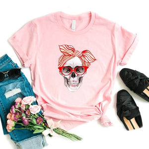 Bandana cráneo estampado Mujer camiseta algodón Casual divertida camiseta regalo 90s Lady Yong Girl Drop Ship 6 colores PM-9832
