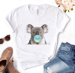 Koala Chewing Gum Print Women tshirt Cotton Casual Funny t shirt Gift For Lady Yong Girl Top Tee PM-134
