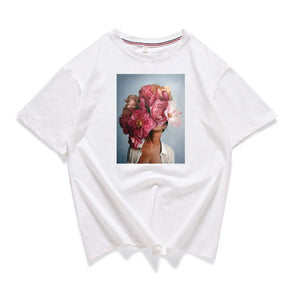 95% cotton bloom flower feather women t -shirt 2019 summer short sleeve round neck harajuku printing tee Casual fashion Female