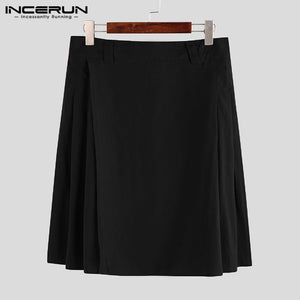 INCERUN Men Scottish Holiday Dress Mens Traditional Skirt  Steampunk Kilt Retro Pure Color Zipper Fashion Comfort Skirts