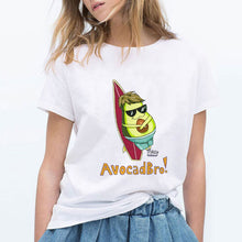 Load image into Gallery viewer, LUCKYROLL Avocado Cat Pattern T Shirt Women Harajuku Vegan Cute Tops Plus Size S-3XL T-shirt Tee Tops