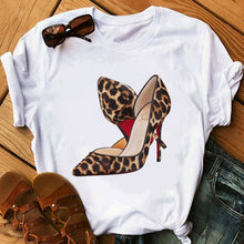 Load image into Gallery viewer, Pink High Heel T Shirt Lady Luxury Make Up Paris Style T-Shirt Women Summer Short sleeve Tops tee Girl Hipster T-shirts gift