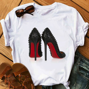 Pink High Heel T Shirt Lady Luxury Make Up Paris Style T-Shirt Women Summer Short sleeve Tops tee Girl Hipster T-shirts gift