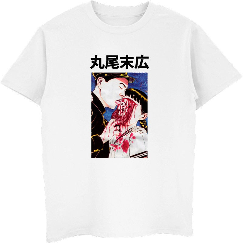 Eyeball Lick Suehiro Maruo Cult Japan Anime Manga Horror Auge  Junji Ito T Shirt Men Cotton T-shirt Funny Tees Tops Streetwear