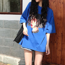 Load image into Gallery viewer, Korean Women shirts letters stripe Kawaii tops O-Neck All-match Students t-shirts autumn Harajuku Loose Clothing Casual T shirt