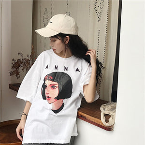 Korean Women shirts letters stripe Kawaii tops O-Neck All-match Students t-shirts autumn Harajuku Loose Clothing Casual T shirt