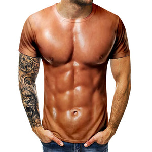 Men's 3D T-Shirt Bodybuilding Simulated Muscle Tattoo T-Shirt Casual nude skin chest muscle Tee Shirt Funny Short-Sleeve Clothes