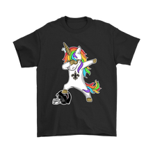 Load image into Gallery viewer, FOOTBALL DABBING UNICORN STEPS ON HELMET NEW ORLEANS SAINTS SHIRTS