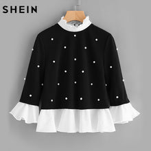 Load image into Gallery viewer, SHEIN Contrast Frill Trim Pearl Embellished Top Black and White Contrast Collar Three Quarter Length Flare Sleeve Blouse