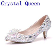 Load image into Gallery viewer, Crystal Queen 5cm Thick Heel Crystal Women Shoes Pumps 5cm Rhinestone Heels Silver Rhinestone Women Wedding Shoes Low Heels