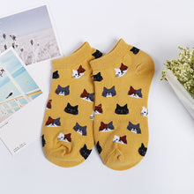 Load image into Gallery viewer, women cotton socks Fashion Female Short Kitten Colorful Tube Art Casual Cute Cat Socks For Girls