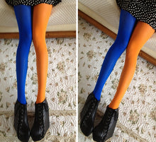 Load image into Gallery viewer, Women Patchwork Footed Tights Stretchy Pantyhose Stockings Elastic Two Color Silk Stockings Skinny Legs Collant Sexy Pantyhose