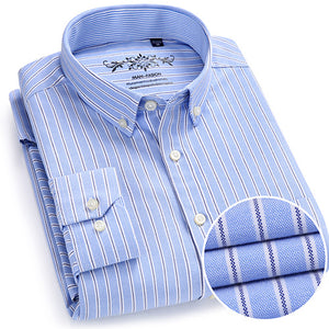 Men's Long Sleeve Plaid/Striped Oxford Dress Shirt Single Patch Pocket with Box-pleated Back Yoke Regular-fit Button Down Shirts
