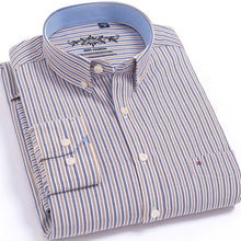 Load image into Gallery viewer, Men's Long Sleeve Plaid/Striped Oxford Dress Shirt Single Patch Pocket with Box-pleated Back Yoke Regular-fit Button Down Shirts