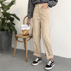 Pants Women Loose Solid Corduroy High Waist Pockets Solid Womens Long Trousers Korean Style Leisure All-match Simple Trendy