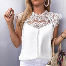 Load image into Gallery viewer, Summer 2019 Womens Tops Blouses Lace Patchwork Sleeveless Solid Shirt Women Blouse Blusas Roupa Feminina Shirt