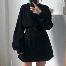 Load image into Gallery viewer, 7 colors long sleeve dress women spring autumn korean style dress ladies solid color loose t shirt dress women with belt (X218)
