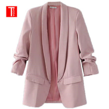 Load image into Gallery viewer, Pink Shawl Collar Elegant Office Ladies Workwear Blazer Long Sleeve Regular Fit Minimalist 2018 Women Autumn Blazer 7 Colors
