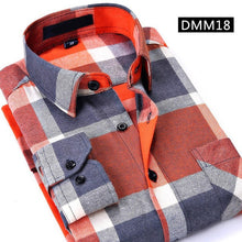 Load image into Gallery viewer, Casual Men Plaid Shirt Spring Autumn Flannel Shirt Men Dress Shirts Fashion Long Sleeve Slim Fit Chemise Homme Cotton Male Shirt