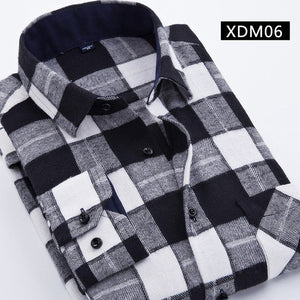 Casual Men Plaid Shirt Spring Autumn Flannel Shirt Men Dress Shirts Fashion Long Sleeve Slim Fit Chemise Homme Cotton Male Shirt