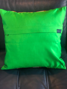 Decorative Green and Gold Pillow Cover with a Kasumi haze pattern