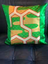 Load image into Gallery viewer, Decorative Green and Gold Pillow Cover with a Kasumi haze pattern
