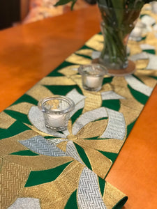 Table Runner Green-base, gold & silver thread woven bundled Noshi (gift ribbon) pattern (woven textile Obi)