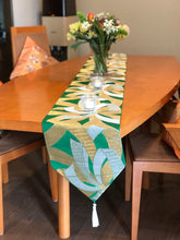 Load image into Gallery viewer, Table Runner Green-base, gold & silver thread woven bundled Noshi (gift ribbon) pattern (woven textile Obi)