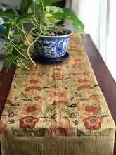 Load image into Gallery viewer, Table Runner Gold thread and Flower Embroidery