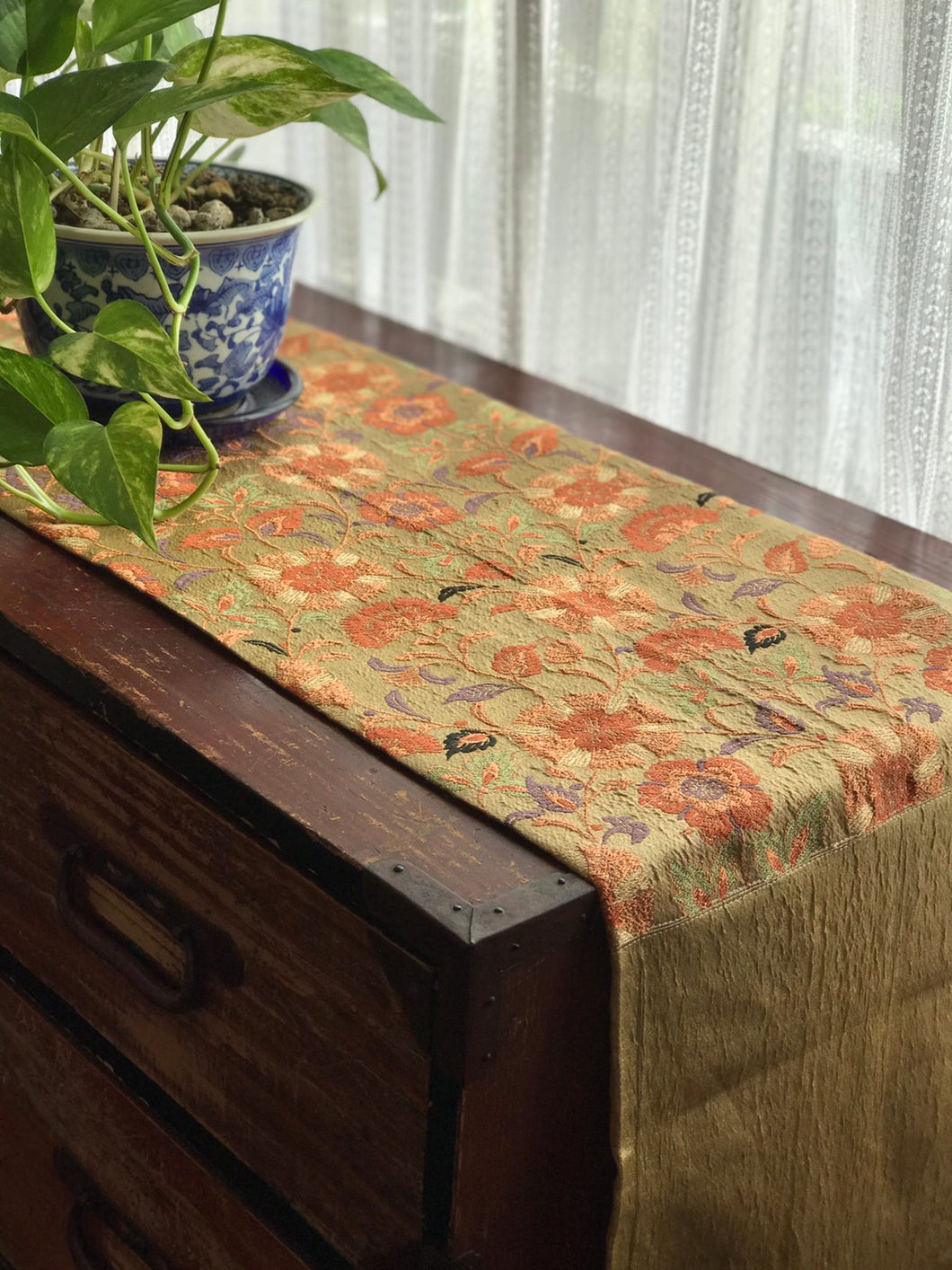 Table Runner Gold thread and Flower Embroidery