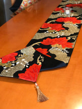 Load image into Gallery viewer, Table Runner Black-base paulownia flower / classical pattern (woven textile Obi)