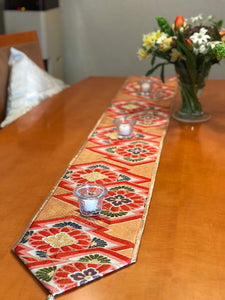 Table Runner Matsukawabishi pattern with  flowers (woven textile Obi)
