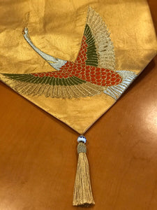 Table Runner Gold-base flying crane (woven textile Obi)
