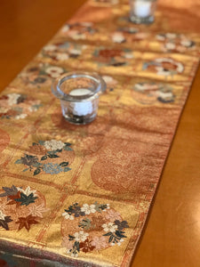 Table Runner Flower pattern with butterflies / classical pattern (woven textile Obi)