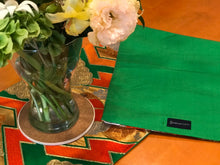 Load image into Gallery viewer, Table Runner Green-base, Matsukawabishi pattern with chrysanthemums and paulownia flowers (woven textile Obi)