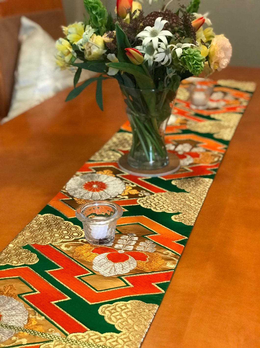 Table Runner Green-base, Matsukawabishi pattern with chrysanthemums and paulownia flowers (woven textile Obi)