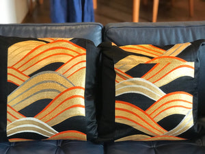 Decorative Black, Gold, Silver Pillow Cover with ocean wave pattern