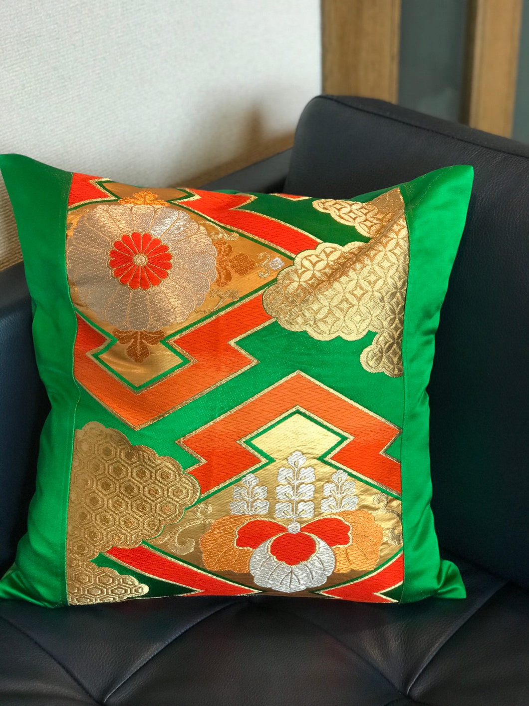 Decorative Pillow Cover with Matsukawabishi pattern and Japanese Flowers
