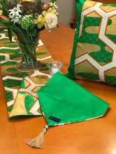 Load image into Gallery viewer, Table Runner Green-base tortoiseshells and Kasumi-haze pattern (woven textile Obi)