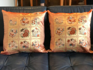 Cushion cover Flower pattern with butterflies / classical pattern (woven textile Obi)