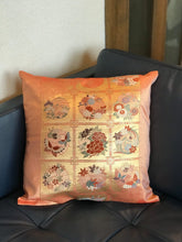 Load image into Gallery viewer, Cushion cover Flower pattern with butterflies / classical pattern (woven textile Obi)