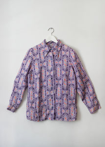 PURPLE PRINT 70'S SHIRT