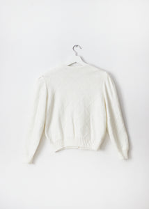 WHITE VINTAGE KNIT CARDIGAN